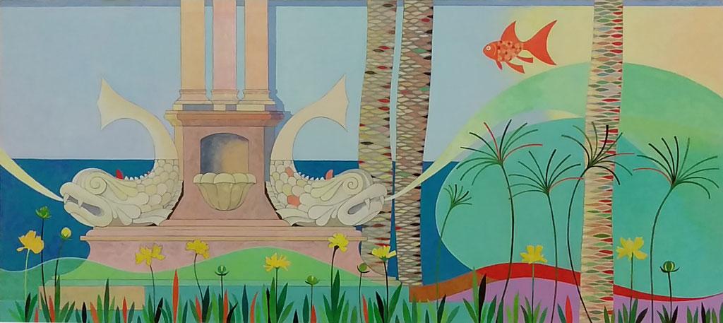 """""""Fuente de los peces"""", proyecto pintura mural. Acrílico sobre tabla. 2017"""