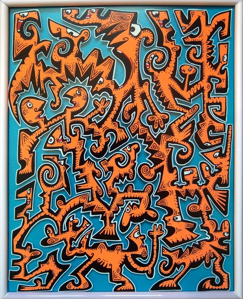 orange skinhead / 31x25 cm/ cadre blanc metal/ 80 euros