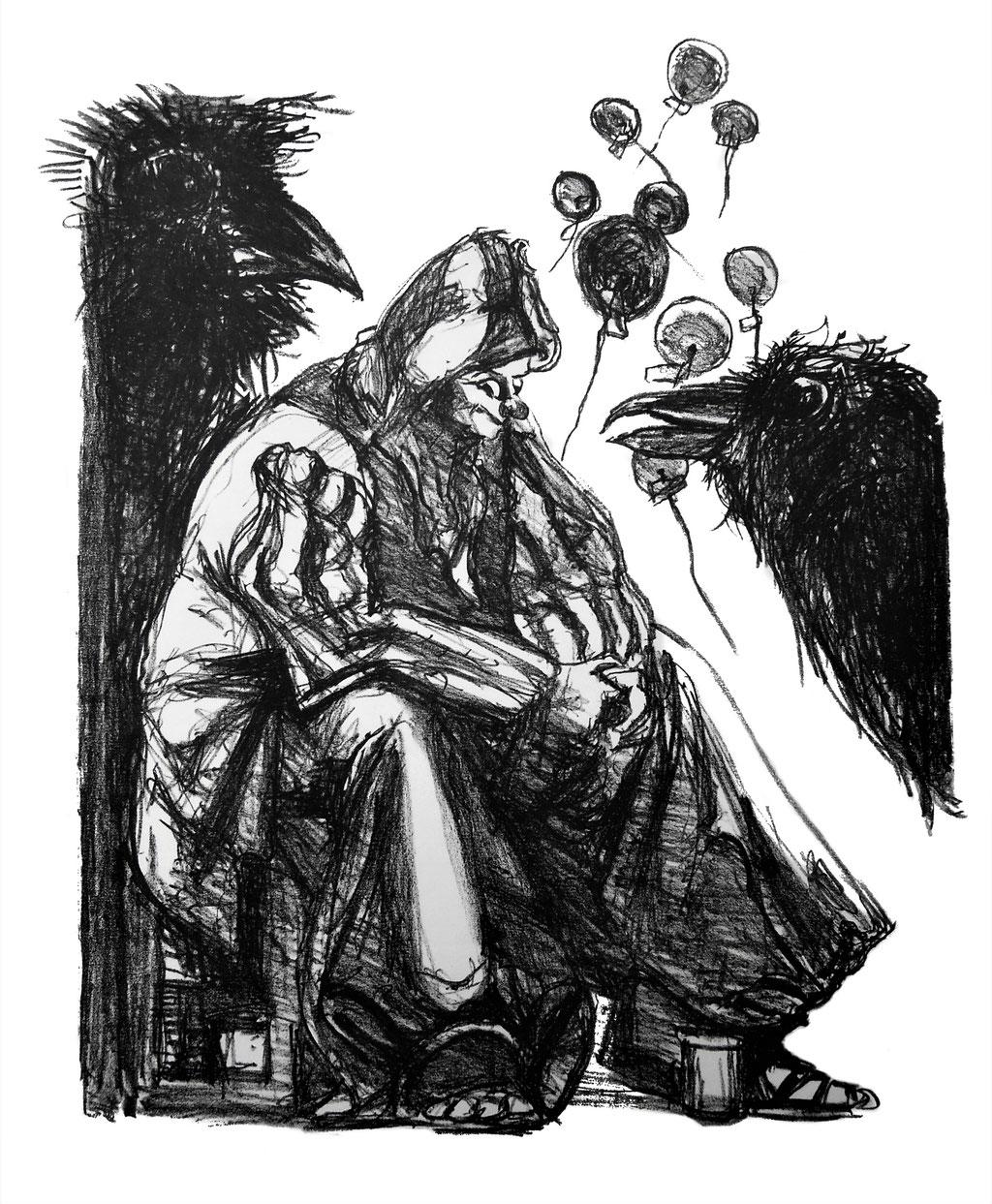 Der Raben Rat, Alugrafie auf Bütten