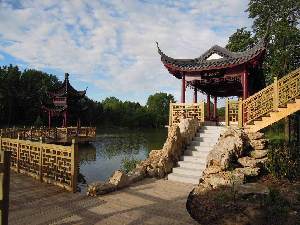 Seepagode und Pavillon Chinagarten Weißensee am Gondelteich