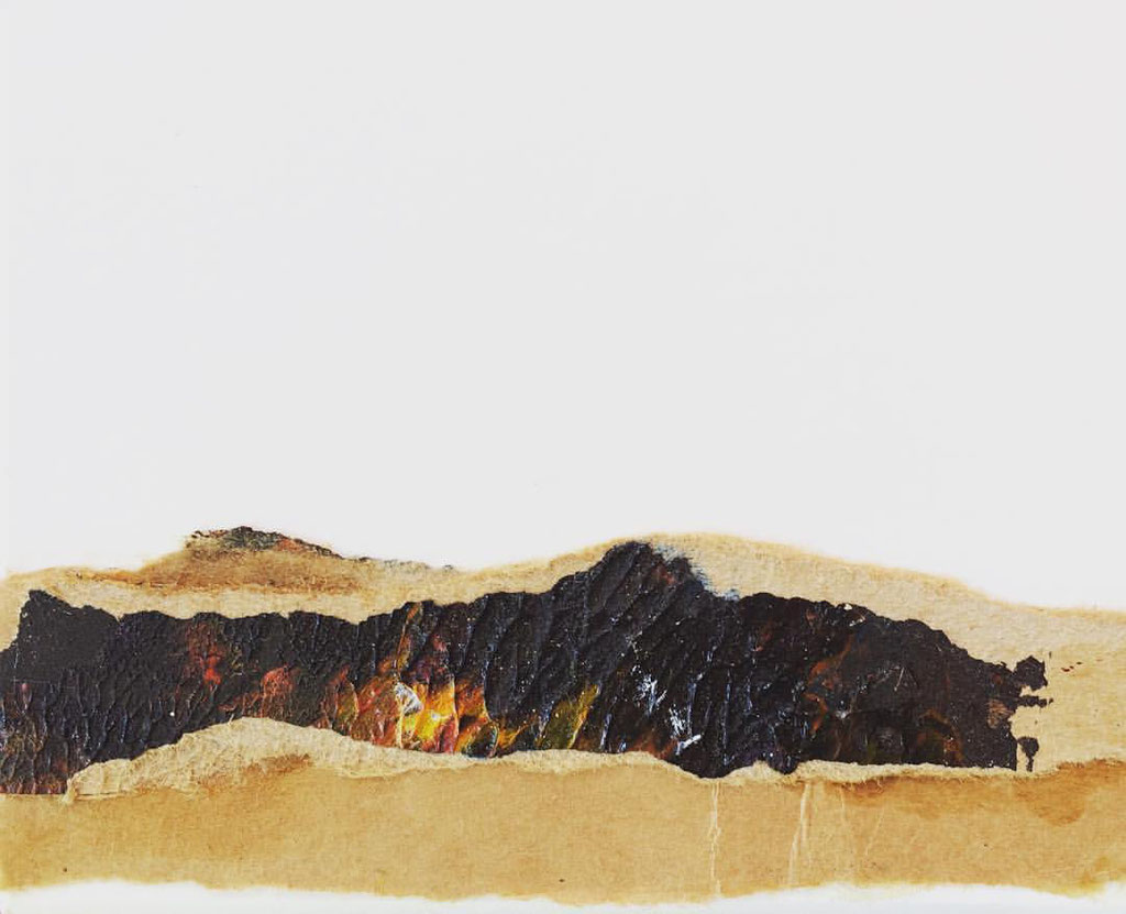 """Timanfaya Vulcano 4""   Mixed Media on carton board   8 x 9,8 cm   2017"