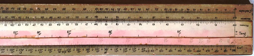 Primitiva Regla Topográfica española marca CONDE reverso reglilla, con anotaciones mitad derecha
