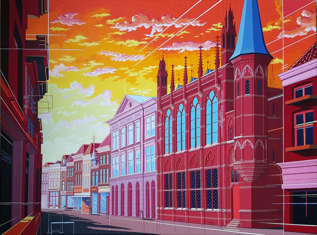 Diezerstraat Zwolle, uitwerking 2. Acryl op doek, 60 bij 80 cm.