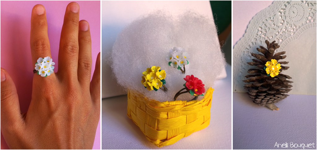 Anelli Bouquet (neve, limone, e fragola!) ; circa 2 cm di diametro, su base bronzata - 7*