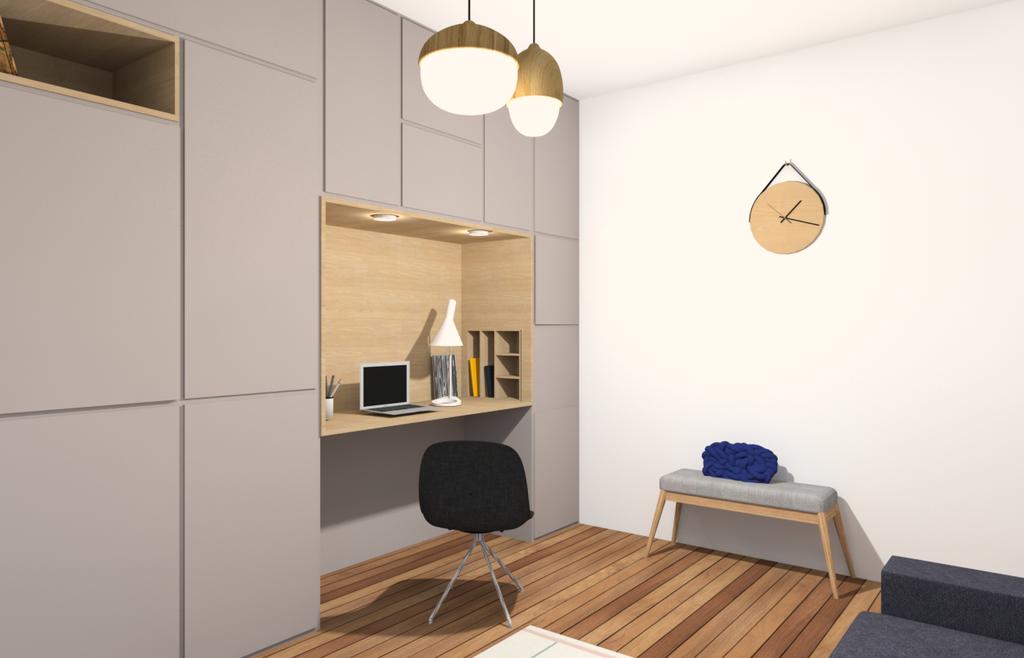 Aménagement intérieur, mur de rangement avec bureau intégré et niches déco, bois, 3D,  Ma Jolie Maison, Julienne Le Brun