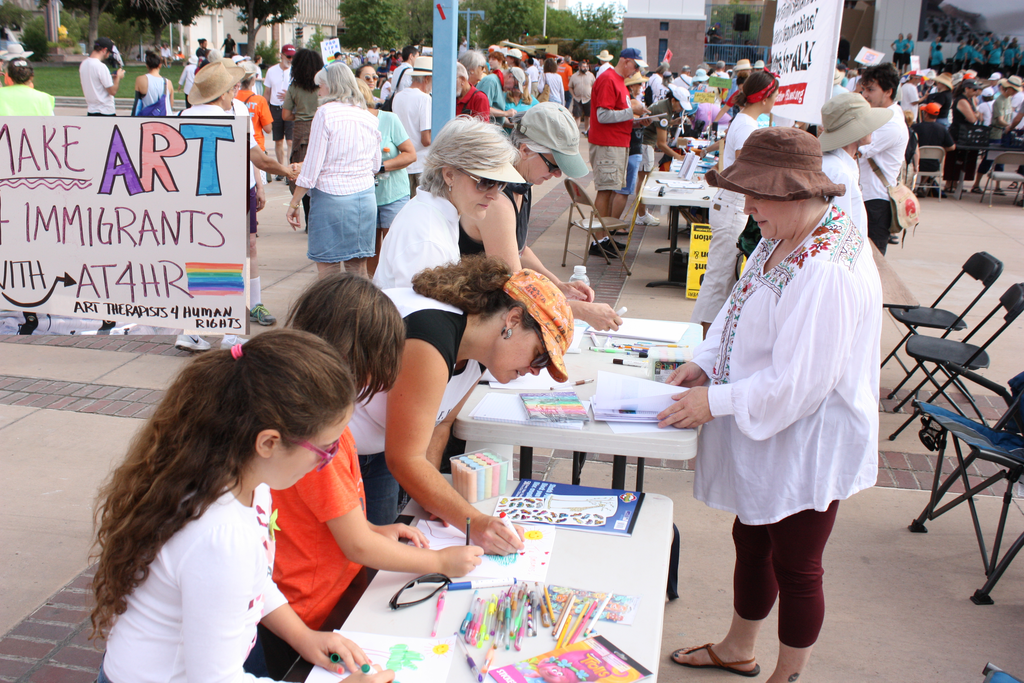 Mindy at ARt Therapy for Human Rights table- Protest Against Families Separated L.A