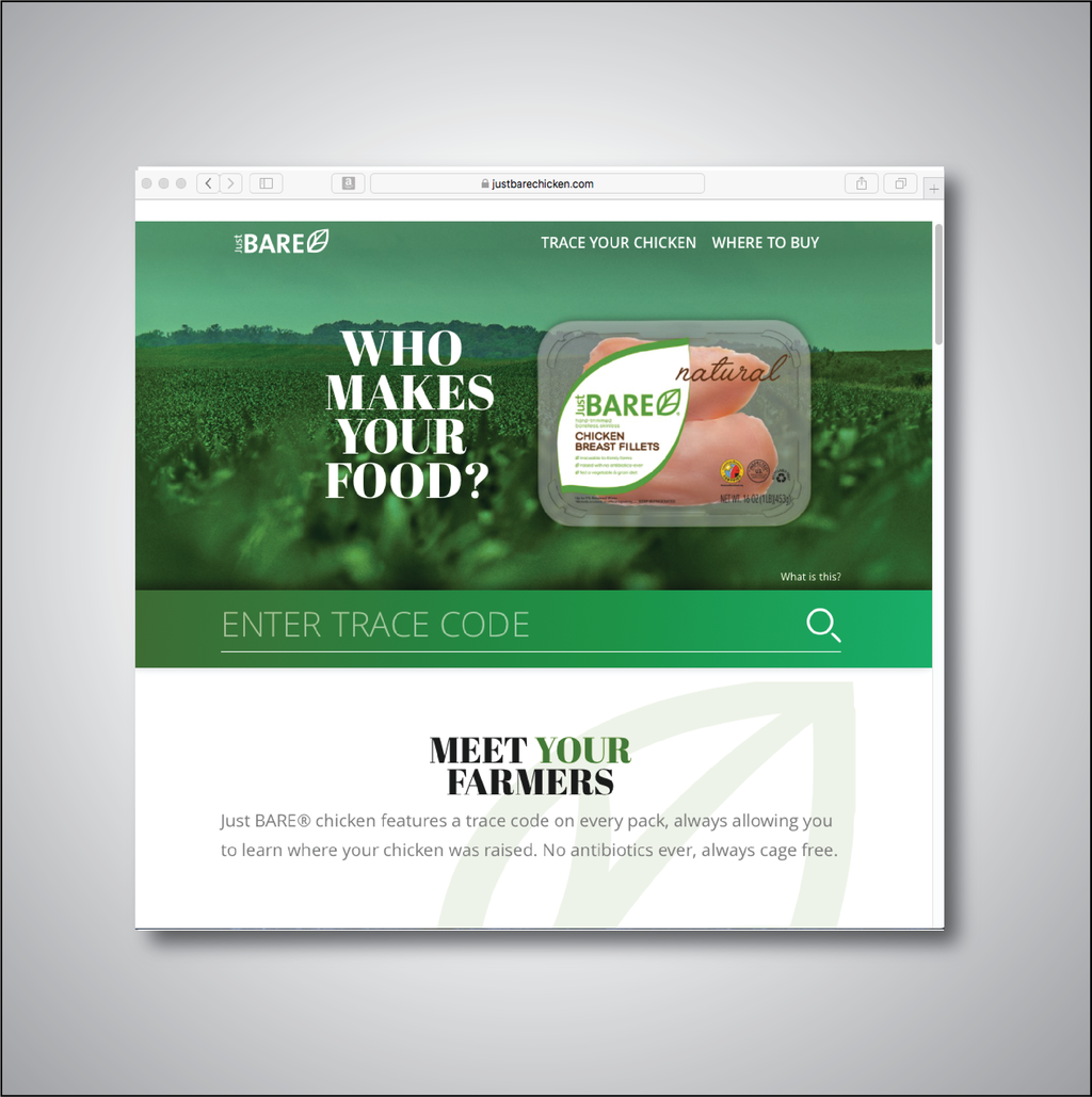 Creative Direction at Pilgrims Chicken. Just BARE Chicken is our premium branded product. A micro site for the campaign.