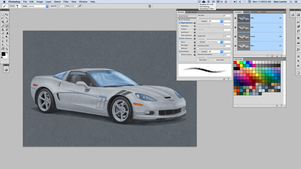 Then the color is applied using Adobe's Photoshop software and with the use of a graphic tablet.