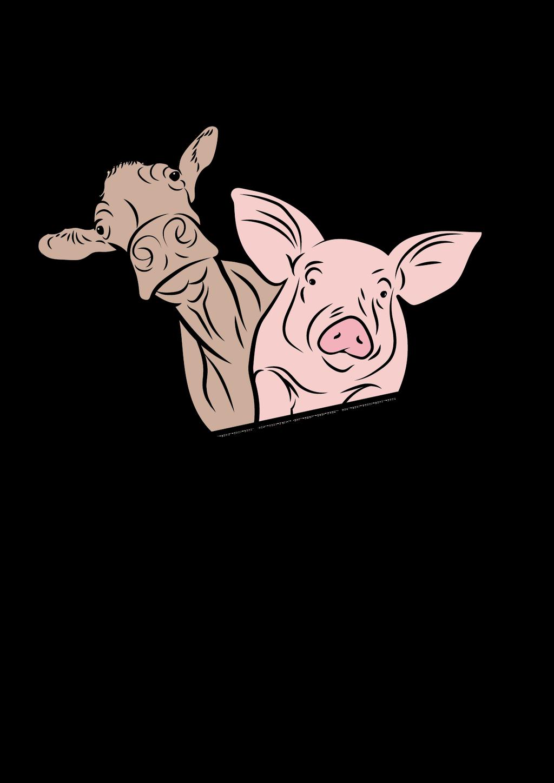Bild- und Schriftzeichen vom Bauernhof Schattacher. Das Logo Design zeigt eine fröhliche Kuh und eine glückliche Sau |Typography and Graphicdesign: Created by Lockedesign, Bern