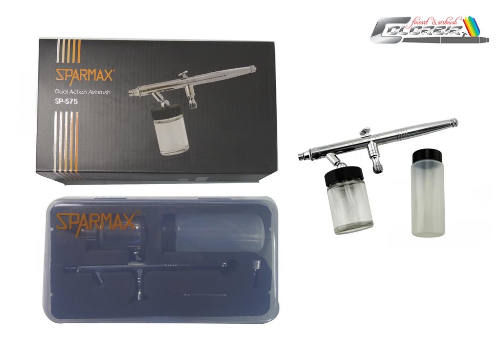 Sparmax SPS 575 0,5 mm Düse mit Saugbehälter für größere Flächen und Textil-Lackierungen