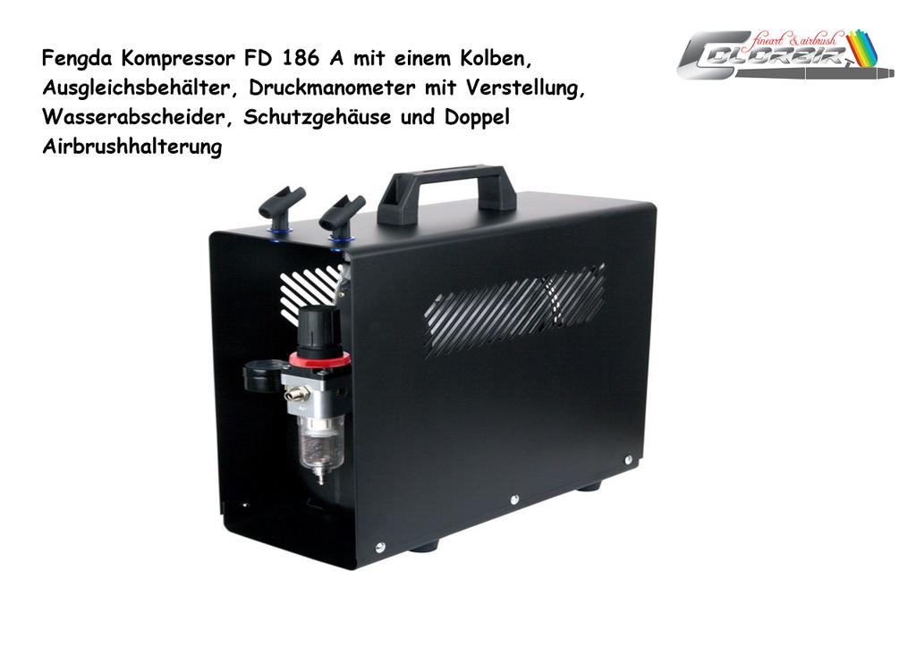 Einstiegskompressor: Fengda FD 186  A Singlekolben, Druckbehälter und mit Schutzgehäuse