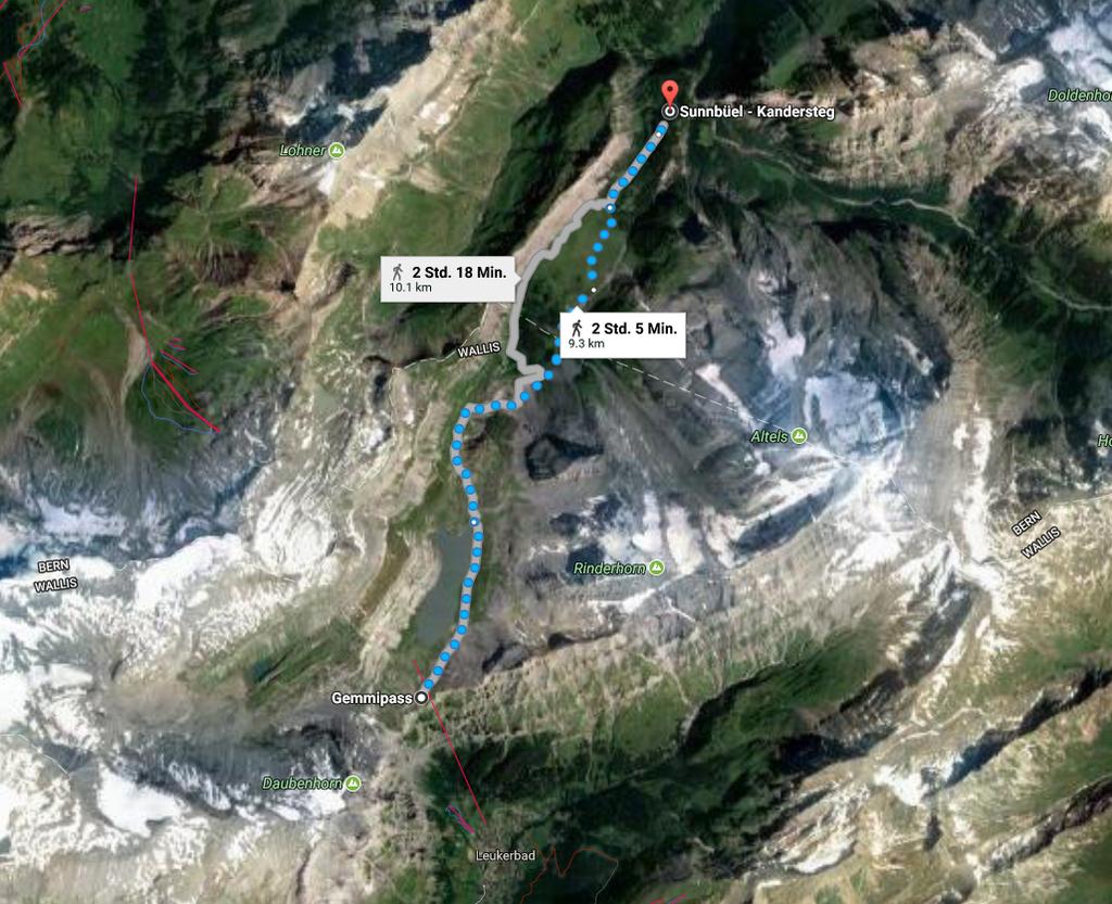 Wanderoute Gemmipass - Schwarebach - Sunnbuel Luftseilbahn