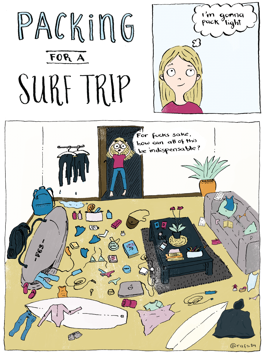 Surf trip packing