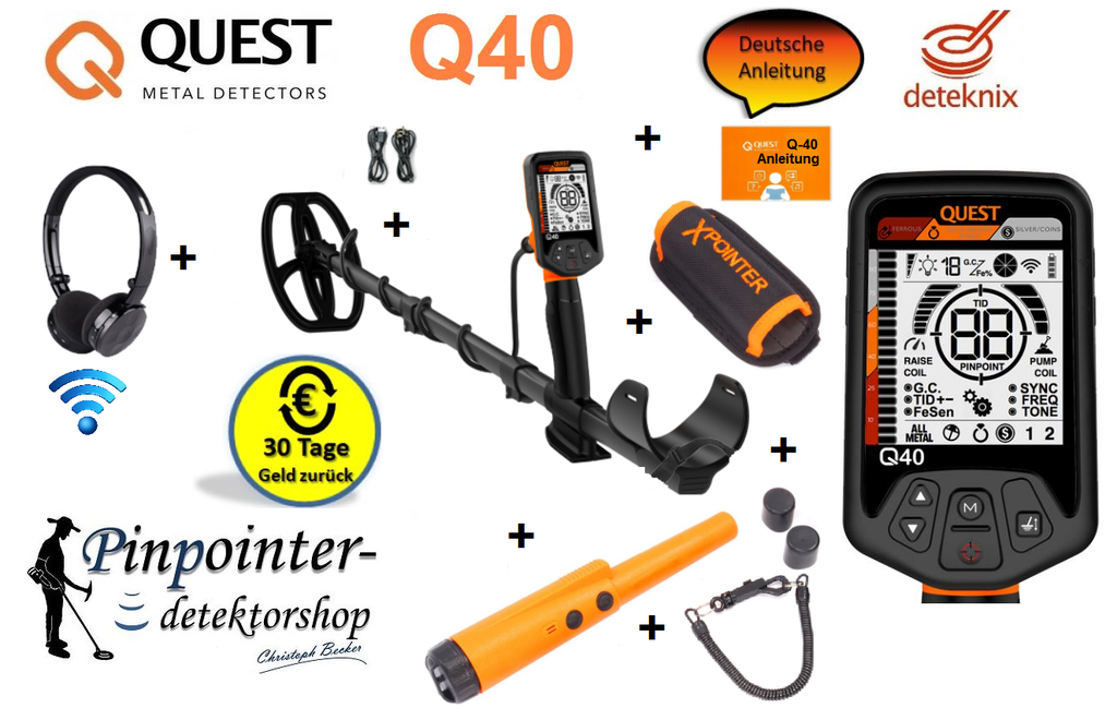 Quest Q40 Metalldetektor inkl. Xpointer