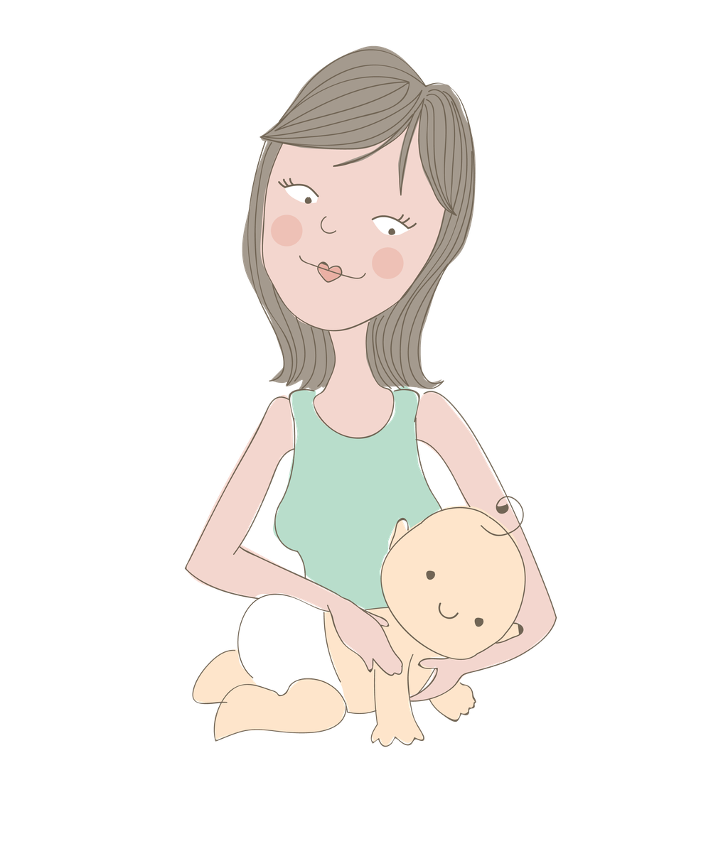Bespoke illustration of mother massaging baby, for Minding Each Moment, by Design By Pie