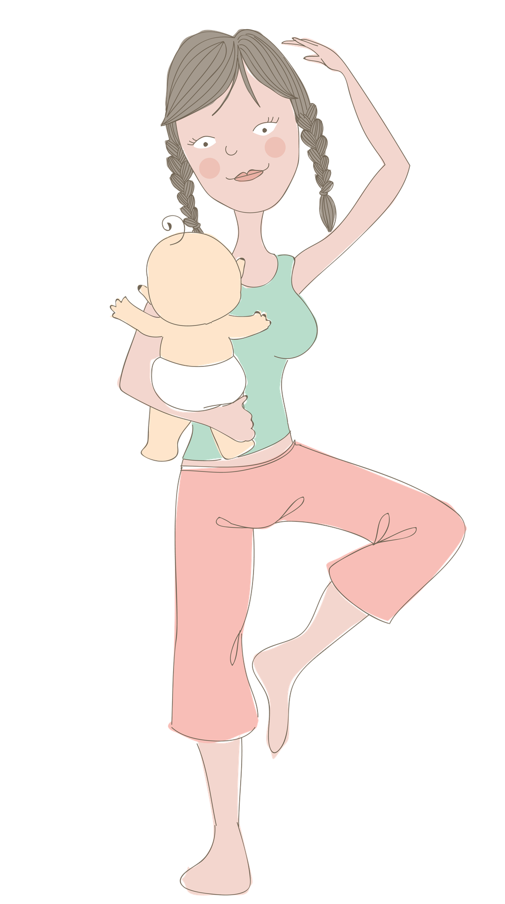 Illustration of mother performing a standing yoga move whilst holding baby, by Design by Pie