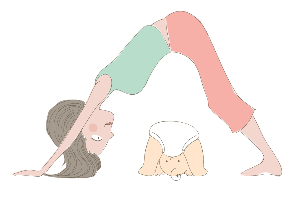 Illustration of mother doing yoga move over baby, bespoke illustration by Design By Pie