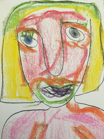 Pablo Picasso charcoal KS2 primary elementary school self portrait