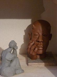 """"""" Faune borgne """" et """" Mascotte """"  Sculptures Grès cru - Caco -"""