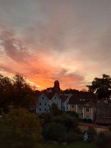 Morgendlicher Ausblick aus dem Zimmer in Vadstena