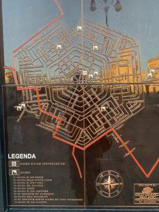 Italien, Sizilien, Grammichele, Sechseck, Vogelperspektive, Stadtplan