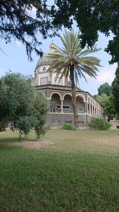 The Church of Beatitudes on top of the hill.