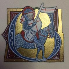 Enluminure médiévale inspirée d'une Bible ardennaise du XIVes, création Martine Saussure-Young 2021