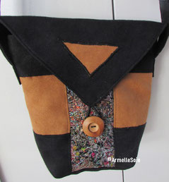 sac,bandoulière, réglable,ajustable,imperméable,noir,fait main, France, noir,fabriqué en France, création textile,
