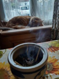 Räucherstövchen im Vordergrund und im Hintergrund liegt die Katze