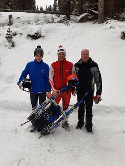 Am Bild Dominik Maier mit Christoph Knauder und Sportwart Oskar Knauder beim gemeinsamen Training für die Österreichischen Staatsmeisterschaften (Foto: RC Mondi Frantschach)