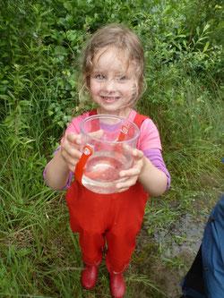 In Liekwegen konnten die Kinder die Amphibien in ihrem Lebensraum erkunden. - Foto: Maren Matzeik