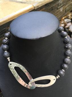 #shortnecklace#lavastone#silverheart