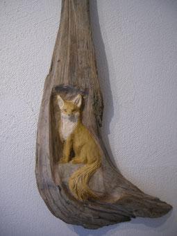 Fuchs Skulptur Schnitzerei von Holzschnitzer Paul Widmer