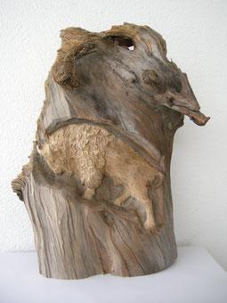 Bison Skulptur Schnitzerei Paul Widmer