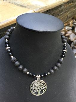 #short necklace#lavastone#treeoflife#obsidian