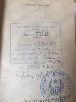 Stempel, Reisepass, Passstempel, coole, außergewöhnliche, Pass, seltene, entfernte Orte, Guinea-Bissau, Visum