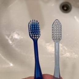 左がワイド、右がいつもの歯ブラシ