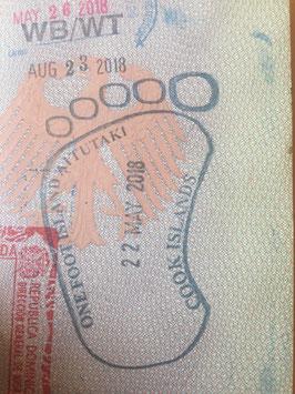 Stempel, Reisepass, Passstempel, coole, außergewöhnliche, Sonderstempel, Pass, seltene, entfernte, Touristenstempel, Touristen Stempel, Aitutaki, Cook-Inseln, one foot Island