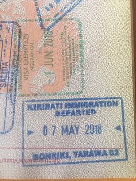 Stempel, Reisepass, Passstempel, coole, außergewöhnliche, Pass, seltene, entfernte Orte, Kiribati, Bonriki, Tarawa