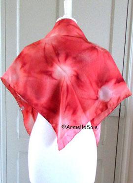Foulard, carré de soie,soie naturelle, écharpe, rouge, peint main, fabriqué en France, Bretagne