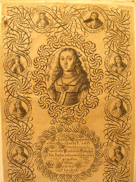 Das Bild zeigt eine alte, verzierte Zeichnung von Sibylla Schwarz.