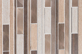 Close up of linear mosaic of warm-tone wood porcelain tile and brushed aluminum