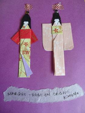 Marque-page en origami kimono atelier origami