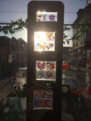 Gartenstele frostfest- einzigartiges Geschenk aus farbigem Glas fusing