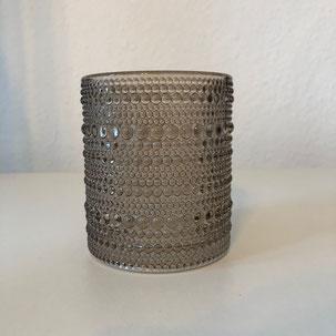 Windlicht aus Glas mit Punkten brau und groß als Dekoration für Hochzeit oder Geburtstag