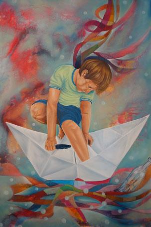 Weltreise, Acryl/Öl auf Leinwand, 80 x 120 cm