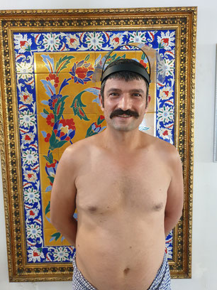 Murat with his classic moustache did Hammam to Bastian