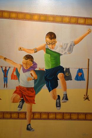 Superheroes, Óleo sobre lienzo, 70 x 100 cm