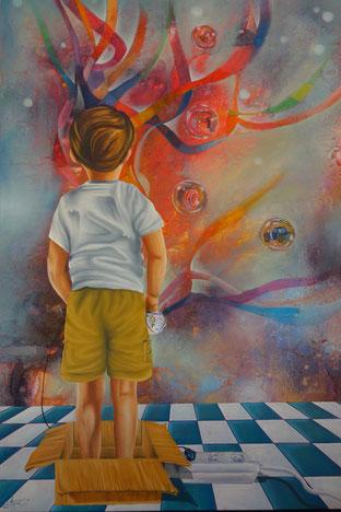 Erinnerungen, Acryl/Öl auf Leinwand, 80 x 120 cm, Privat