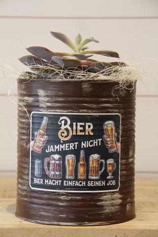 bier jammert nicht bier macht einfach seinen job dose büchse sukkelente pflanze